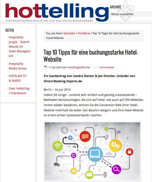 Artikel Hottelling: Top 10 Tipps für eine buchungsstarke Hotel Website