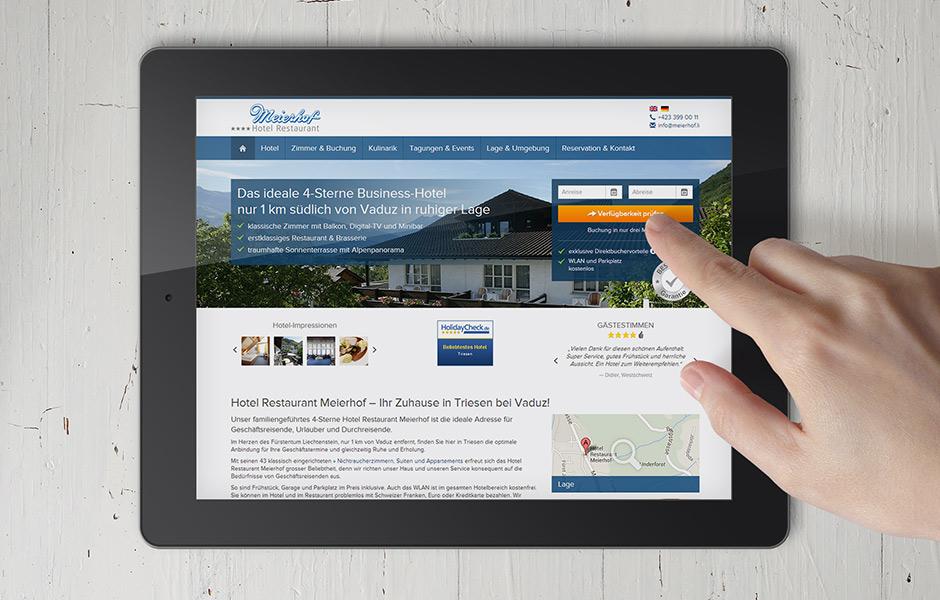 Ansicht Website Booking Magnet auf Tablet